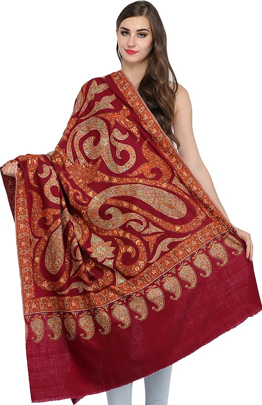 Cordovan-Red Kashmiri Pure Pashmina Shawl with Sozni Hand-Embroidered Giant Paisleys