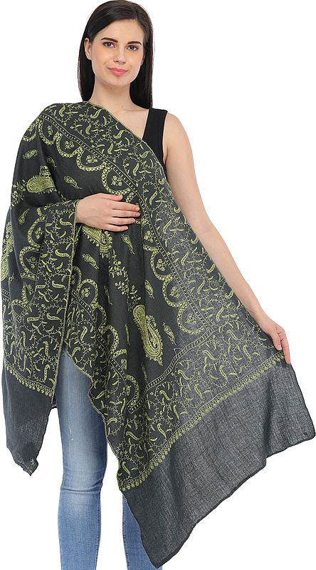 Gray and Green Sozni-Hand Embroidered Tusha Stole from Kashmir