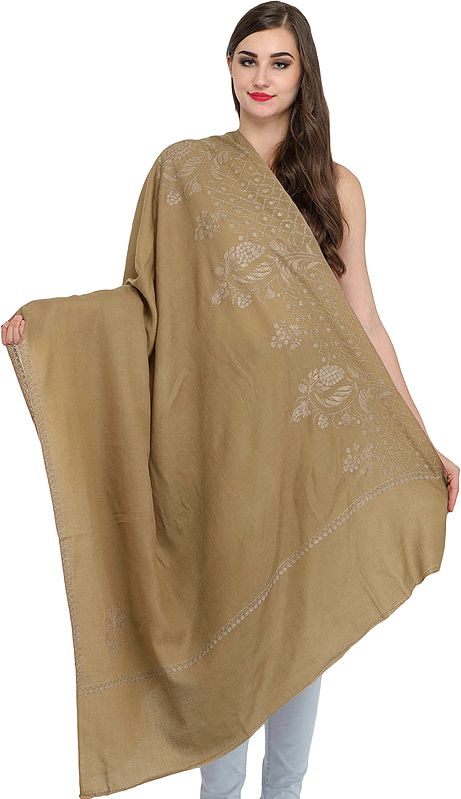 Tusha Shawl from Kashmir with Sozni Hand-Embroidery on Edge