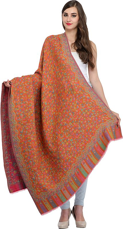 Reversible Kani Jamawar Shawl from Amritsar with Floral Weave All-Over