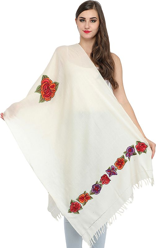 Stole from Kashmir with Ari Hand-Embroidered Flowers