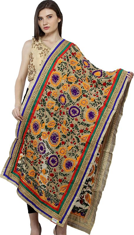 Hand-Embroidered Phulkari Stole from Punjab with Patch Border