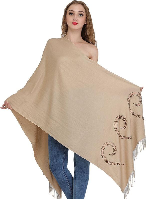 Shifting-Sand Cashmere Silk Stole from Nepal with Embroidered-Beads