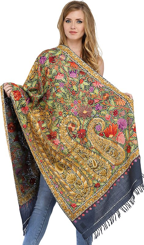 Folkstone-Gray Stole from Kashmir with Dense Ari-Hand Embroidery in Multi-color Thread