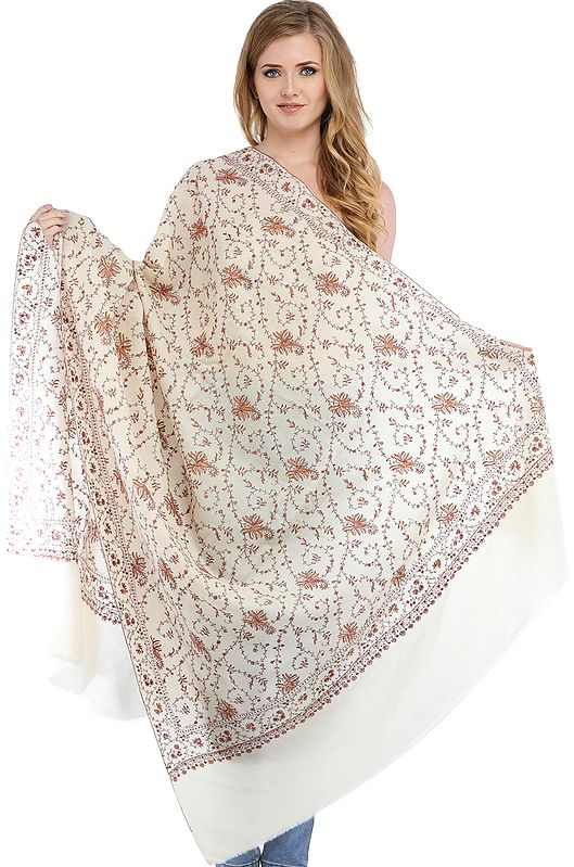 Ivory Tusha Shawl from Kashmir with Sozni-Embroidery by Hand