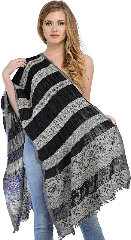 Black and Gray Reversible Jamawar Scarf with Embroidered-Beads and Sequins
