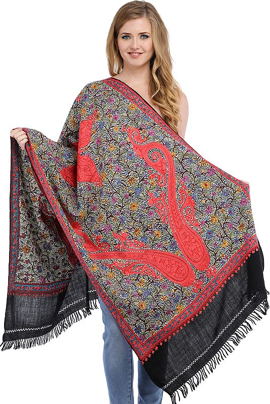 Black Stole from Kashmir with Dense Ari-Hand Embroidered Paisleys