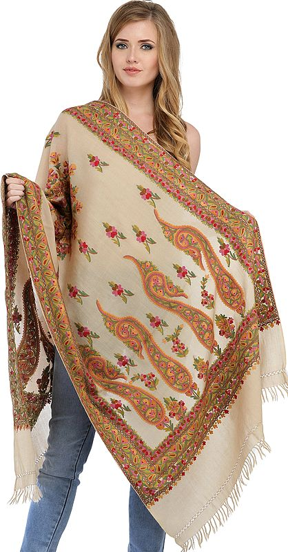 Oyster-White Stole from Kashmir with Ari-Embroidery by Hand