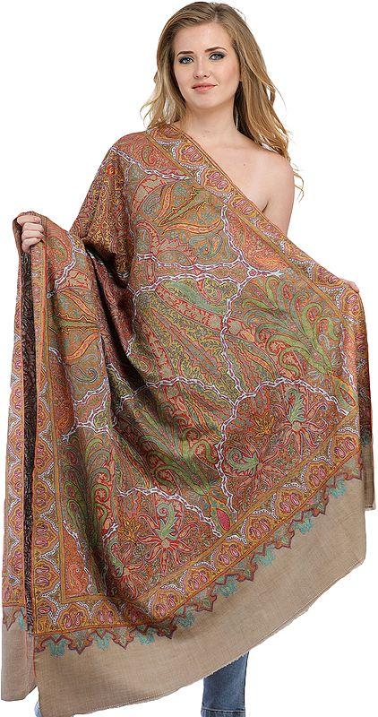 Feather-Grey Kashmiri Pure Pashmina Shawl with Kalamkari Hand-Embroidery All-Over
