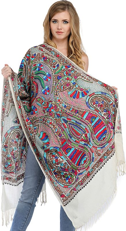 Stole from Amritsar with Ari-Embroidered Giant Paisleys in Multi-color Thread