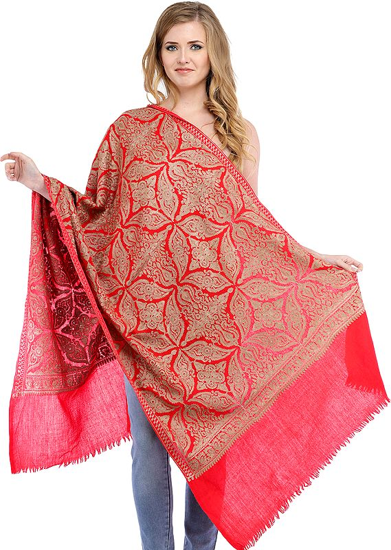 Rose of Sharon Colored Stole from Amritsar with All-Over Mughal Embroidered Motifs