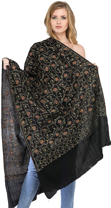 Black Kashmiri Tusha Stole with Sozni Hand Embroidery All-over