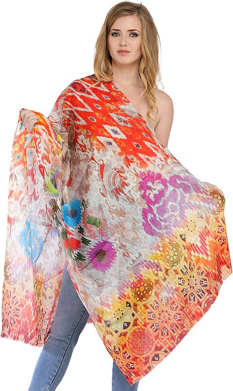 Off-White Digital-Printed Stole with Florals
