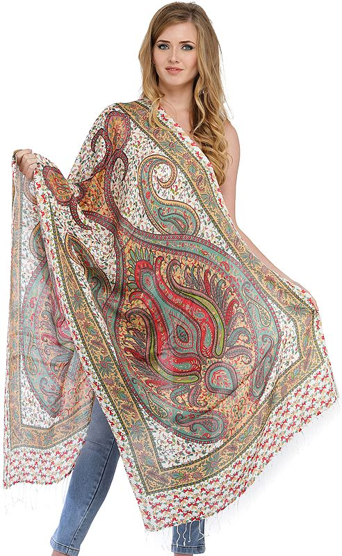 Off-White Digital-Printed Stole with Paisleys