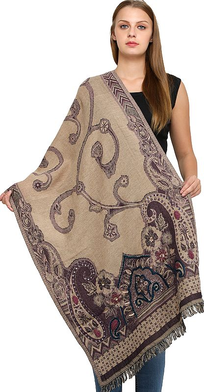 Tidal-Foam Wool-Embroidered Jamawar Stole with Woven Paisleys and Sequins