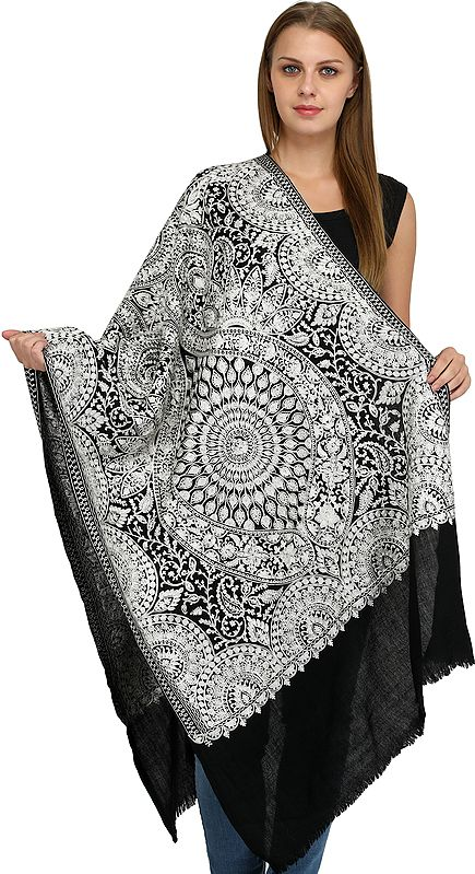 Pirate-Black Shawl from Amritsar with Ari Embroidered Large Chakra in Silver Thread