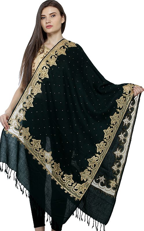 Pure Wool Shawl from Amritsar with Mesh Maple Leaf Patch and Crytsals