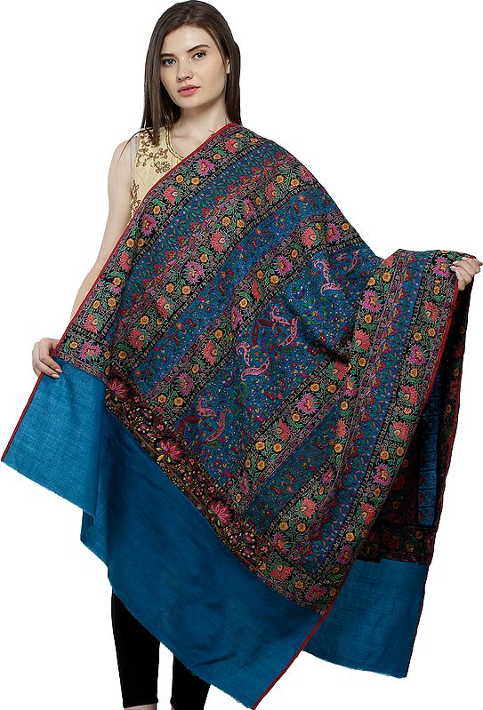 Deep-Lake Pure Pashmina Shawl from Uttar Pradesh with Sozni Floral Hand-Embroidery All-Over