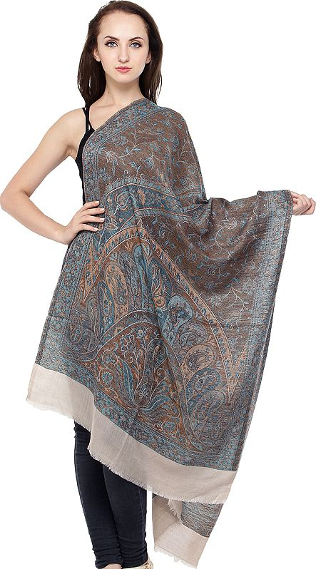 Kani Jamawar Stole with Woven Paisleys and Florals