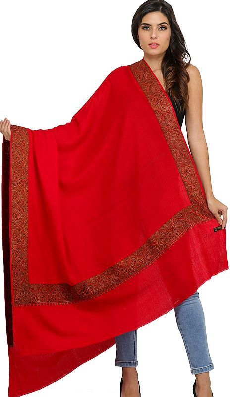 Pure Wool Plain Shawl from Amritsar with Sozni Embroidery on Border