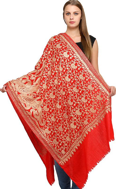 Pure Wool Stole from Amritsar with Ari Embroidery All-Over