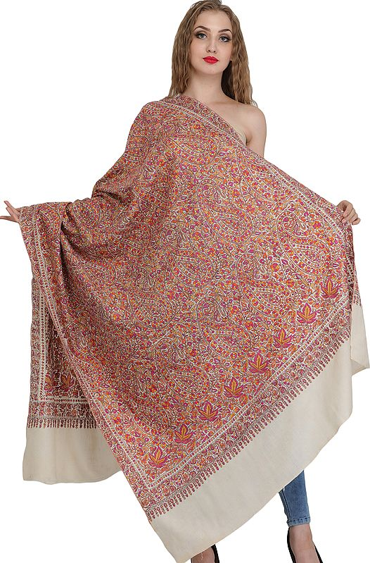 Pearled-Ivory Pure Pashmina Shawl from Kashmir with Sozni Floral Hand-Embroidery All-Over