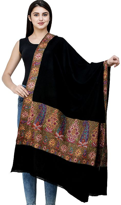 Caviar-Black Plain Pashmina Handloom Shawl from Kashmir with Intricate Sozni Embroidered Paisleys on Border