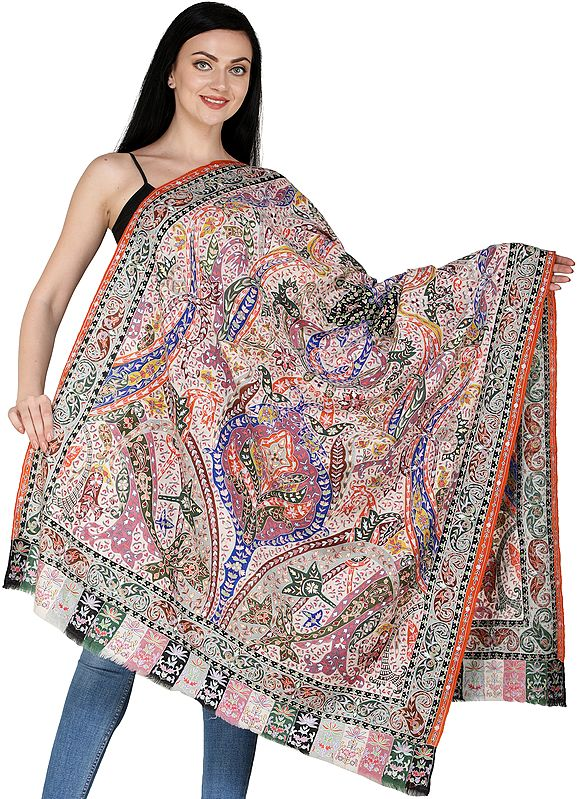 Mother Of Pearl Pure Pashmina Handloom Shawl from Kashmir with Kalamkari Needle Embroidery by Hand