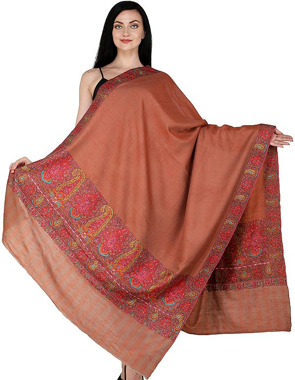 Aragon Plain Pashmina Handloom Shawl from Kashmir with Intricate Sozni Embroidered Paisleys on Border