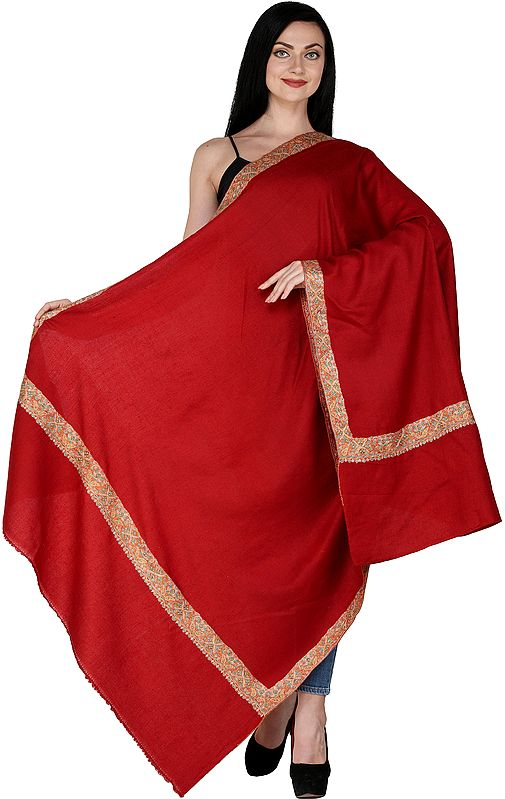 Rococco-Red Plain Pashmina Handloom Shawl from Kashmir with Sozni Embroidered Border