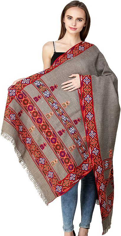 Simply-Taupe Stole from Kullu with Kinnauri Woven Triple Border in Multicolor Thread