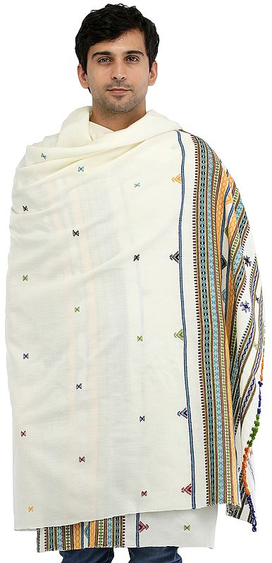 Light-Yellow Men's Plain Shawl from Kutch with Multicolor Thread Weave on Border
