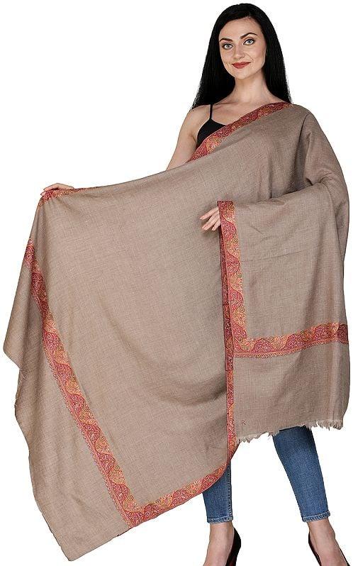 Almondine Plain Pashmina Handloom Shawl from Kashmir with Sozni Embroidered Border