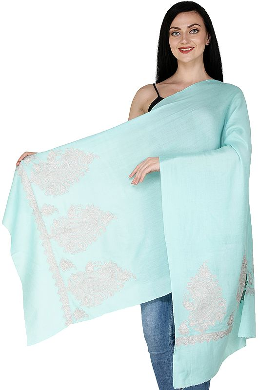 Plain Stole from Srinagar with Zari Embroidered Paiselys on Border