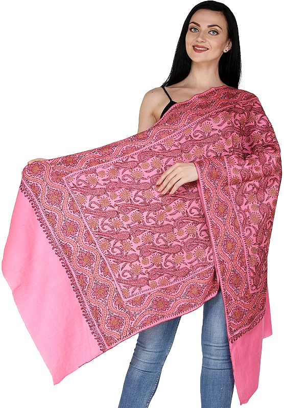 Pink-Lemonade Tusha Stole from Kashmir with Sozni Embroidered Multicolor Florals