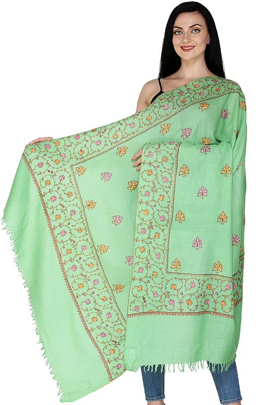 Zephyl-Green Cashmere Shawl from Kashmir with Sozni Embroidered Chinar Leaves All-Over