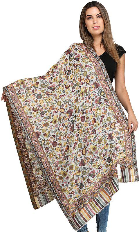 Pearled-Ivory Kani Printed Jamawar Shawl from Amritsar