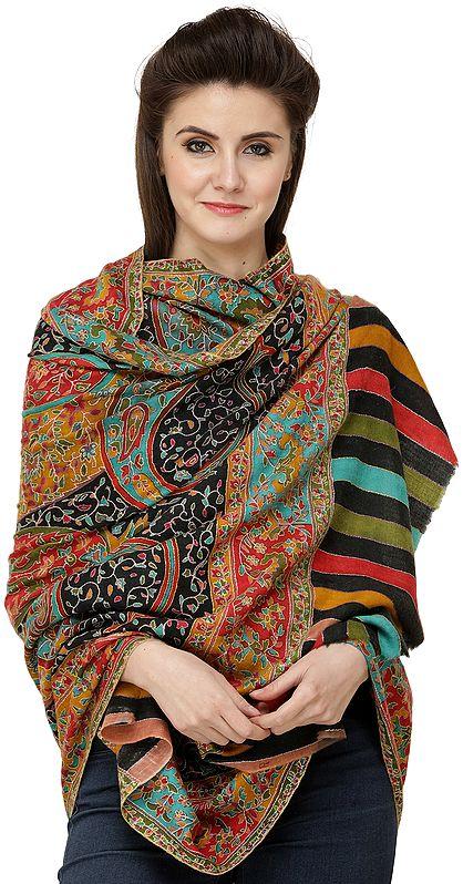 Caviar-Black Pure Pashmina Shawl from Kashmir with Kalamkari Embroidery All-Over