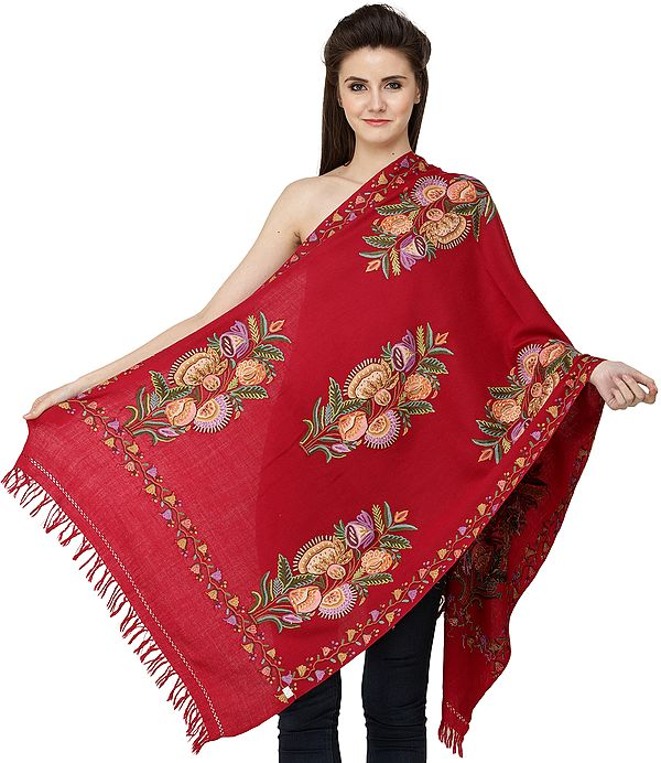 Kashmiri Stole with Ari Hand-Embroidered Bunch of Flowers All-Over