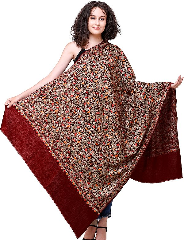 Shawl from Amritsar with Ari-Embroidered Flowers and Paisleys