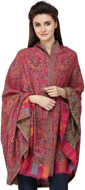 Fuchsia-Rose Kani Printed Jamawar Shawl from Amritsar