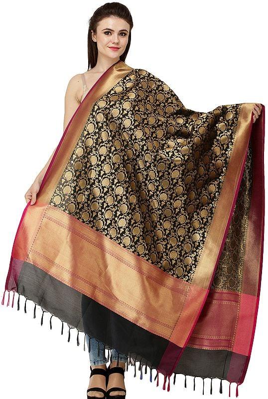 Brocaded Dupatta from Banaras with Marigold Flowers Weave in Zari Thread