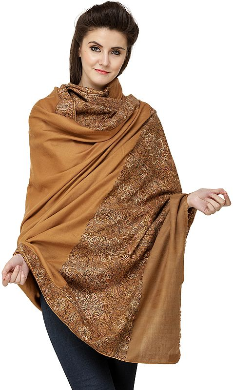 Mocha-Mousse Pure Pashmina Handloom Shawl from Kashmir with Sozni-Embroidered Border
