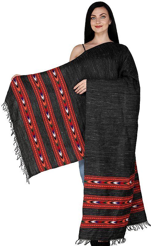 Pirate-Black from Kullu with Kinnauri Woven Triple Border