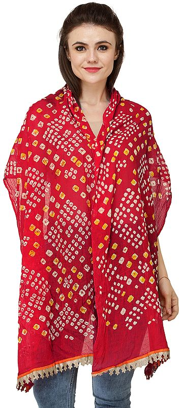 Tie-Dye Bandhani Scarf from Gujarat with Golden Patch Border