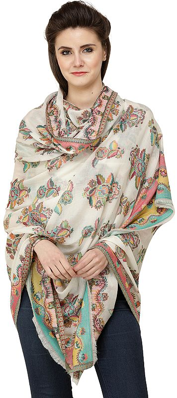 Banana-Cream Kani Shawl with Woven Border and Roses in Multicolor Thread