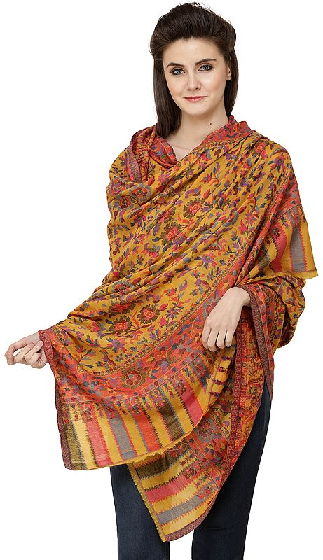 Cadmium-Yellow Kani Printed Jamawar Shawl from Amritsar