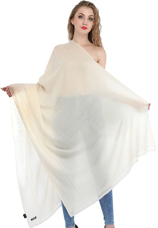 Plain Woven Pure Cashmere Shawl from Nepal
