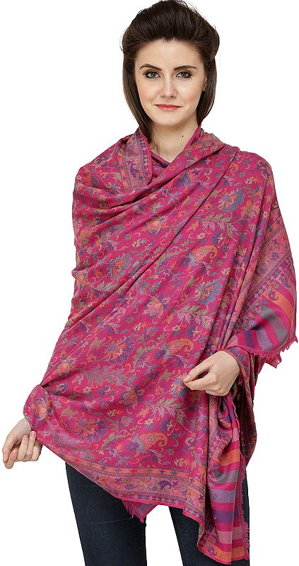 Fuchsia-Rose Kani Jamawar Shawl from Amritsar with Woven Florals All-Over