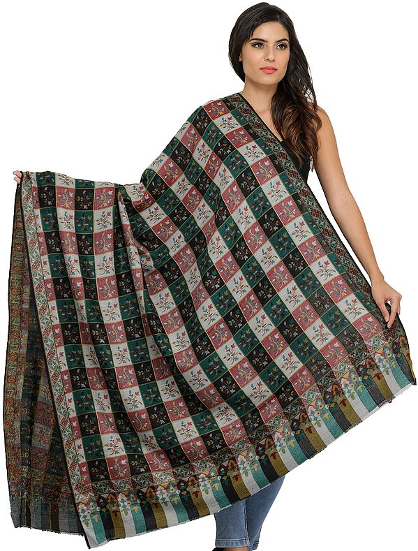 Multicolor Kani Jamawar Shawl from Amritsar with Woven Checks and Flowers